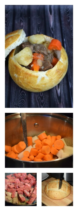 Healthy Homemade Beef Stew in a Bread Bowl